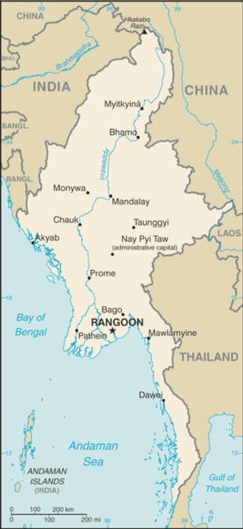 A Map of Burma/Myanmar from the CIA World Factbook.