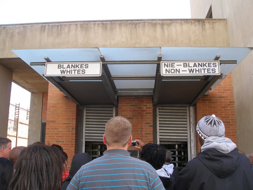 An American tour group entering the Apartheid Museum in Johannesburg, South Africa. Photo by Naomi Krueger.