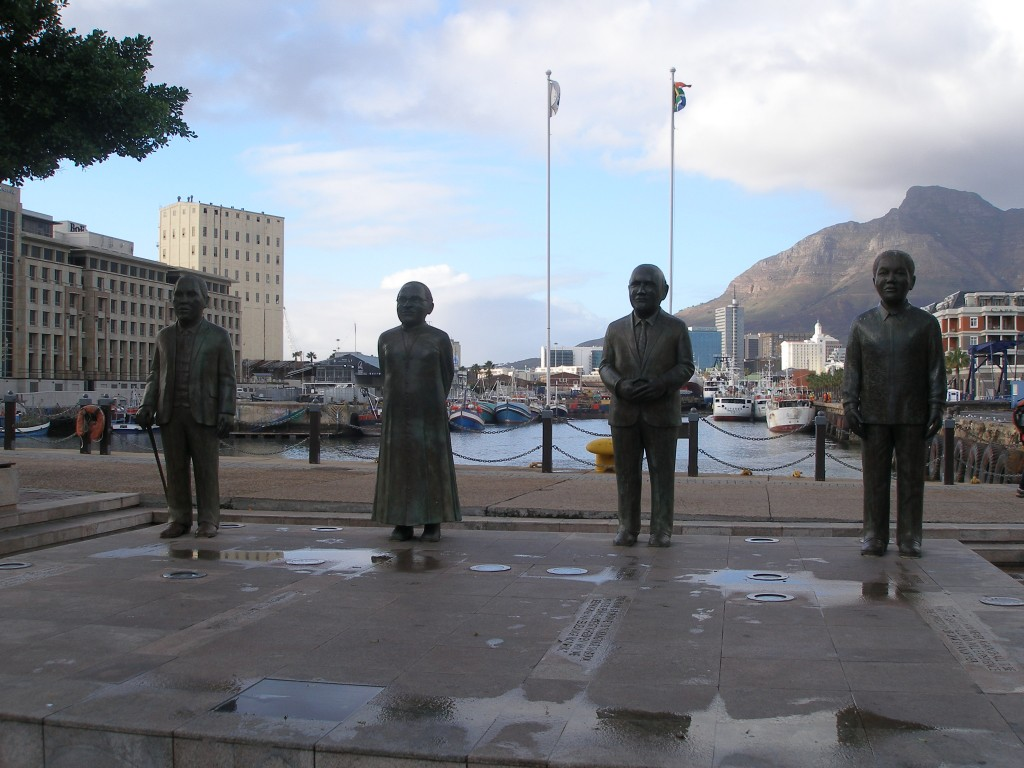 Four of South Africa's Nobel Peace Prize winners memorialized in this Cape Town monument.